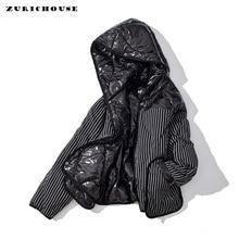 ZURICHOUSE Winter Down Parka Women's Double-sided wear Striped Glossy Hooded 90%