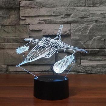 Avion 3d veilleuse nouveauté cadeau créatif Led lampe de Table pour chambre télécommande tactile interrupteur bureau lampe déco lampes