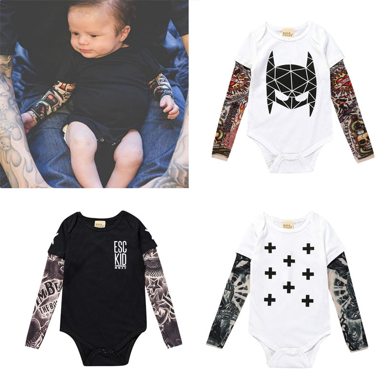 2018 Baby Bodysuit / Batman /SORRY NOT SORRY/ Tattoo Patchment / Infant Baby Top