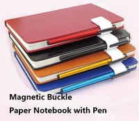 A5 Magnetic Buckle Paper Notebook With Pen Notepad Leather Diary Book Journals Agenda Planner School Office