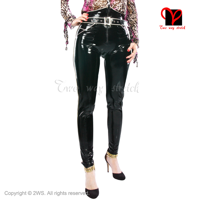 Latex Jeans rubber pants trousers pantaloons britches pencil belt Skinny pockets Tapered font b Leg b