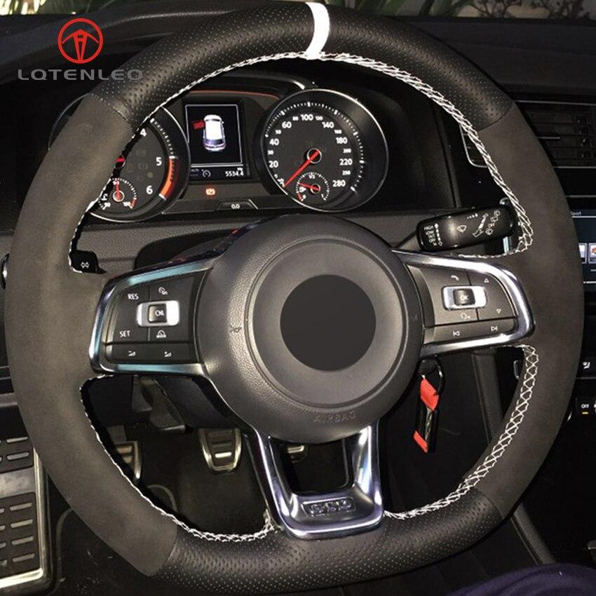 LQTENLEO Steering Wheel Cover Black Suede Genuine Leather for Volkswagen Golf 7 GTI Golf R MK7