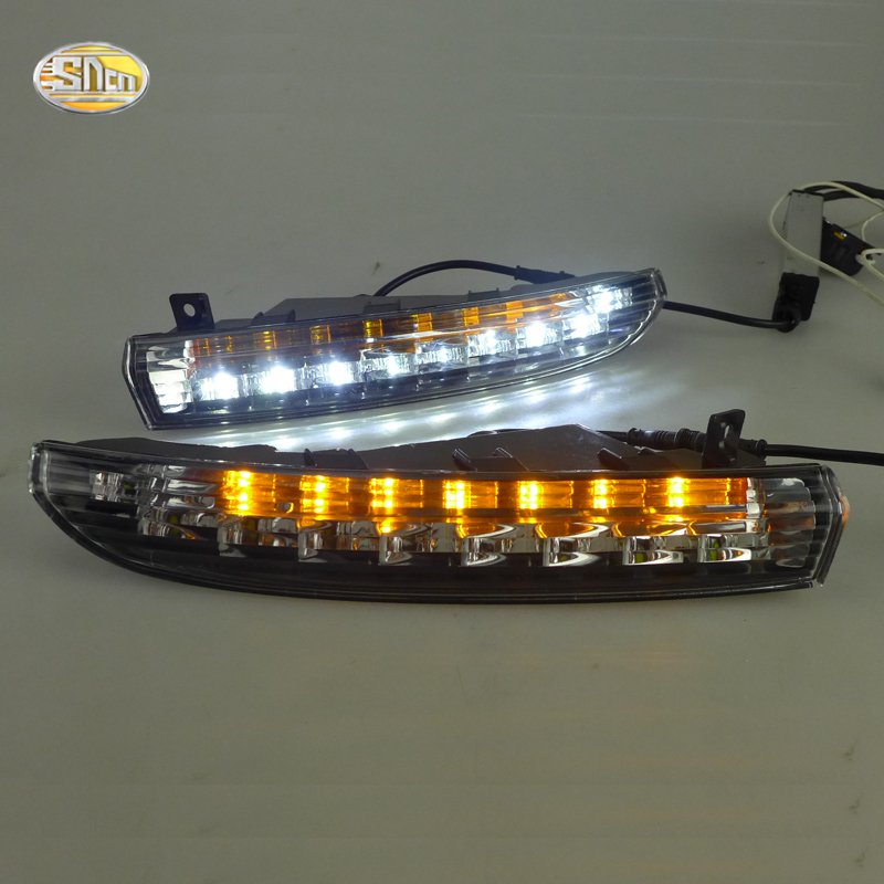 SNCN LED Daytime Running Lights for Volkswagen Vw Passat CC 2009 2010 2011 2012 2013 fog lamp DRL With yellow turning function car fog lights for volkswagen vw passat b6 2005 2006 2007 2008 2009 2010 2014 car modification 12v led drl daytime running light