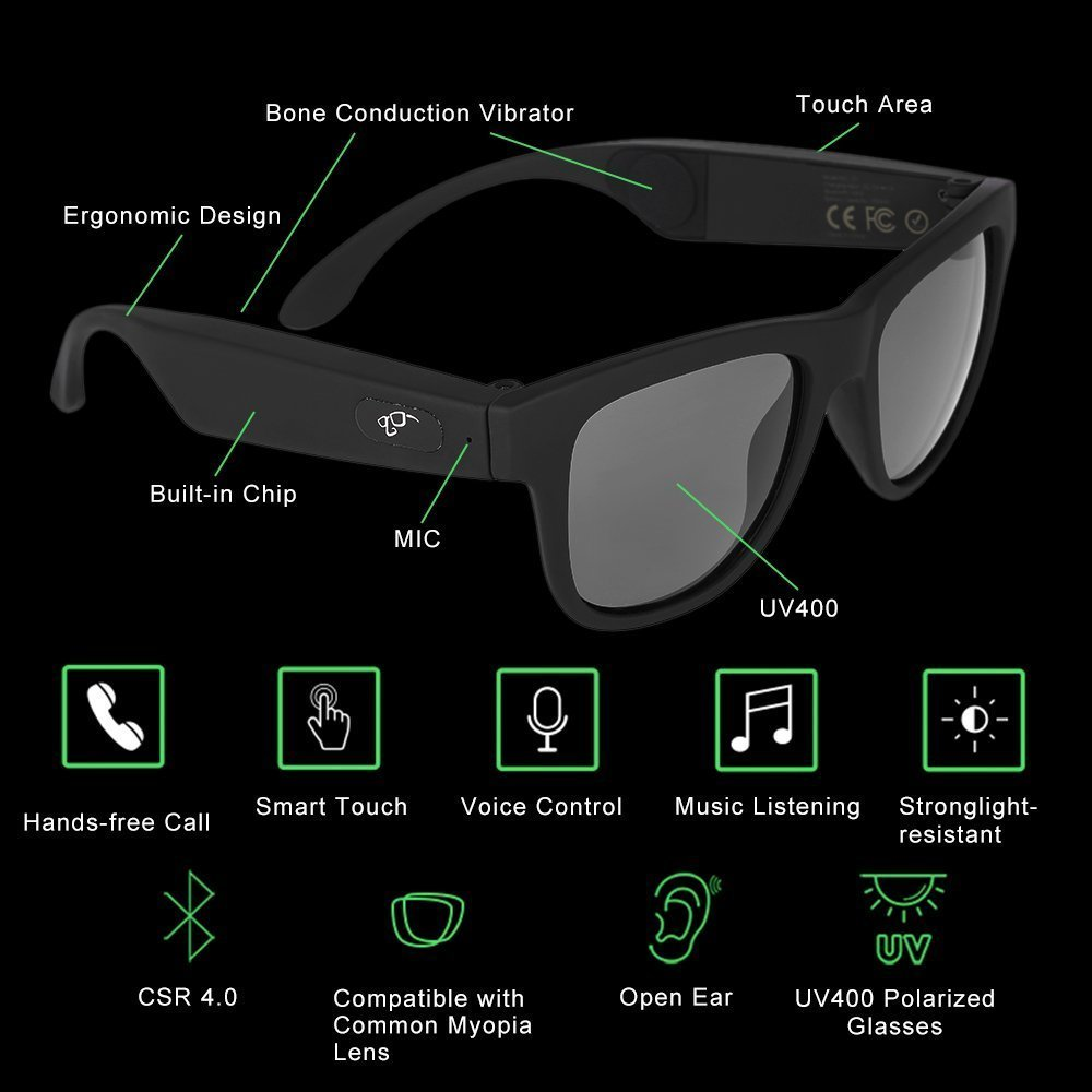 d9077103b9b51 AOSANG G1 Bone Conduction Headphones Sunglasses Bluetooth Headset Polarized  Glasses SmartTouch Wireless Stereo Music Earphone