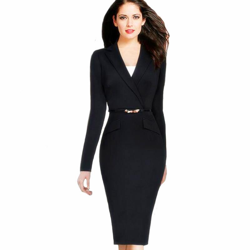 2018 Propcm Ladies Elegant Long Sleeve Black Dress Pencil Vintage Outfits Working Party Office wear Bodycon with Belt Plus Size