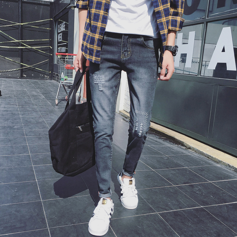 Mens jeans 2018 high quality fashion new mens thin section hole stretch Slim feet business casual personality street jeans