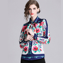 Blusas Mujer Runway Women Vintage Luxury Peacock Print Blouses Autumn Office Lady Turn-Down Collar Bow Long Sleeve Shirts Tops women shirts blouses long sleeve turn down collar shirts gradient lady fashion tops