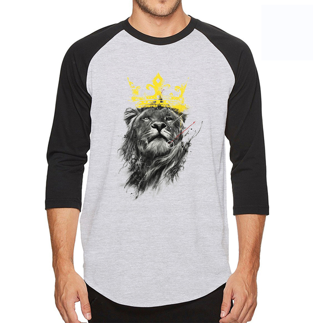9be16534 3D Printed King Of Lion Men T Shirt 2019 Harajuku Style Anine Three Quarter  Sleeve Mens