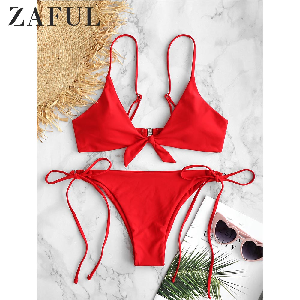 ZAFUL Knotted String Bikini Set Spaghetti Straps Women Swimsuit Solid Basic Swimwear Lcae Up Summer Bathing Suit Sexy Biquini