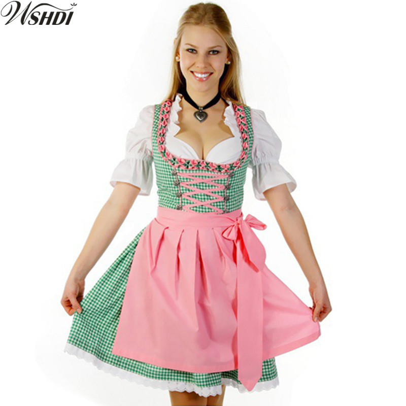 Women Sexy Bavaria Oktoberfest Costume Germany Dirndl Beer Girl Wench Heidi Dress Apron Blouse Gown Costume