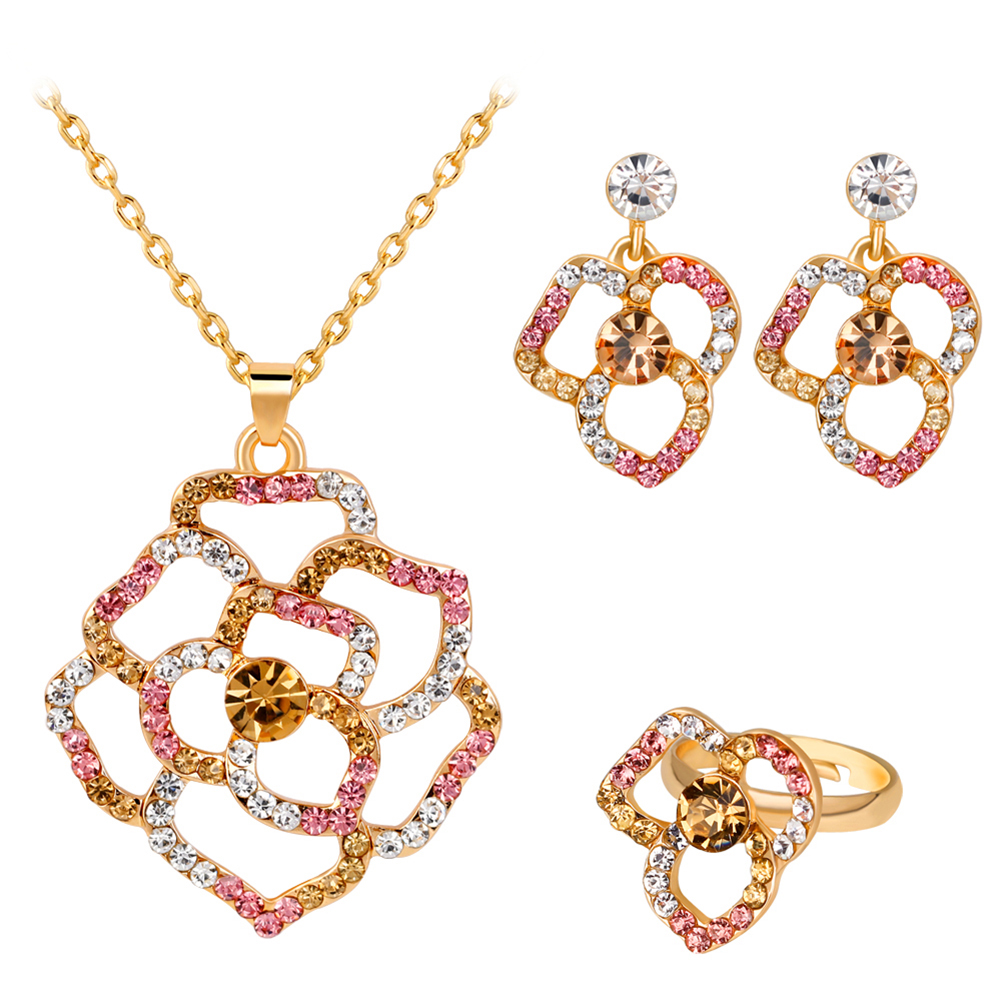 Multicolor Rhinestone Hollow Rose Pendant Charms Necklace Earrings Ring Jewelry