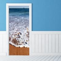 Blue White Sea Scene Decorative 3d Door Stickers Home Door Store Living Room Bedroom Decor Headboard Room Decoration
