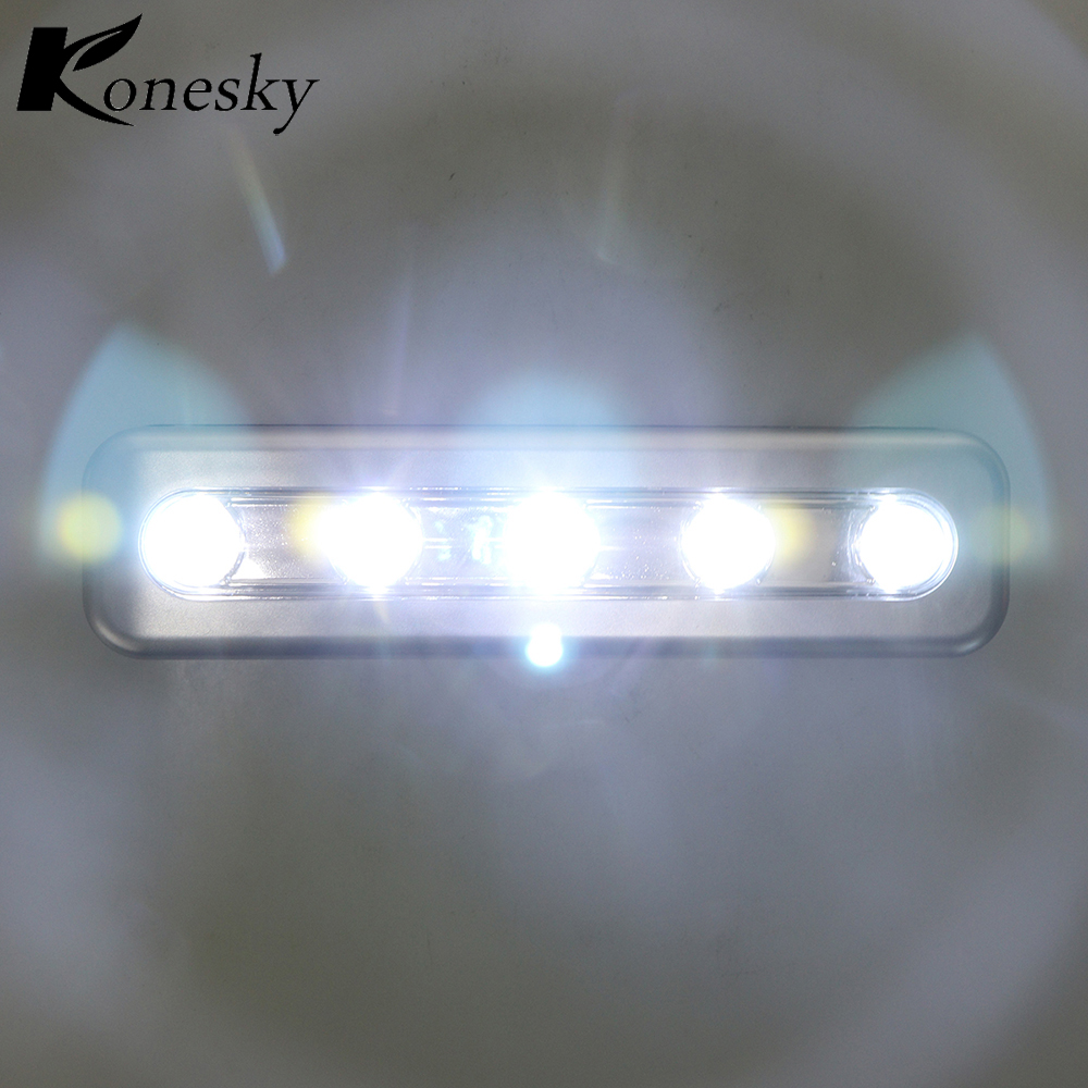 Stick On Wall Lamp Us 2 59 35 Off Konesky Mini 5 Led Night Light Push Touch Lamp Home Lighting Wall Light Self Stick Closet Battery For Bedroom Living Room House In