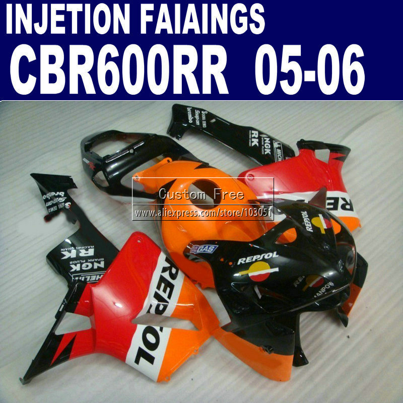 injection molding motorcycle kit for Honda orange repsol CBR600RR fairing 600RR 2005 2006 CBR 600 RR 05 06 fairings kit