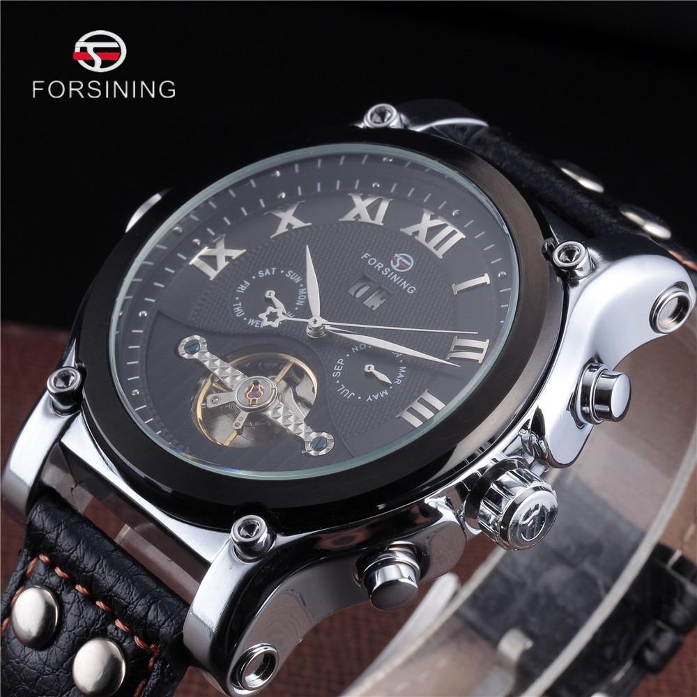ФОТО FORSINING Tourbillon Military Watch Auto Date calendar Mechanical Mens Clock Top Gold Luxury Automatic Skeleton Wrist Watches