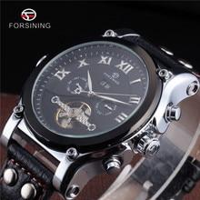 FORSINING Tourbillon Militaire Montre Automatique Date calendrier Mécanique Mens Horloge Top Or De Luxe Automatique Squelette Montres