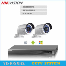 Hikvision CCTV 4CH Alarm NVR Video Recorder WDR Bullet 4MP IP Camera DS-2CD2042WD-I Onvif POE IP67 Video surveillance System