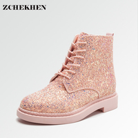 Women Ankle Boots Heels Female Shoes Woman Autumn Glitter Lace up Boots Casual Bling Pink Black White #2