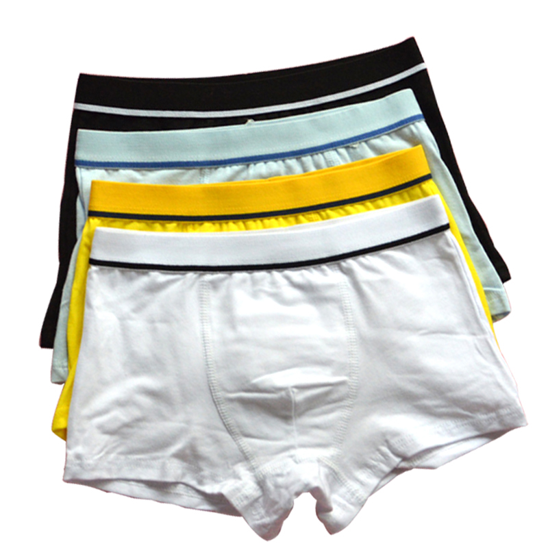 4 Pcs/Lot Organic Cotton Kids Boys Boxer Babys Shorts   Panties   Pure Color Children's Teenager Underwear Boys Underwear 3-12 Year