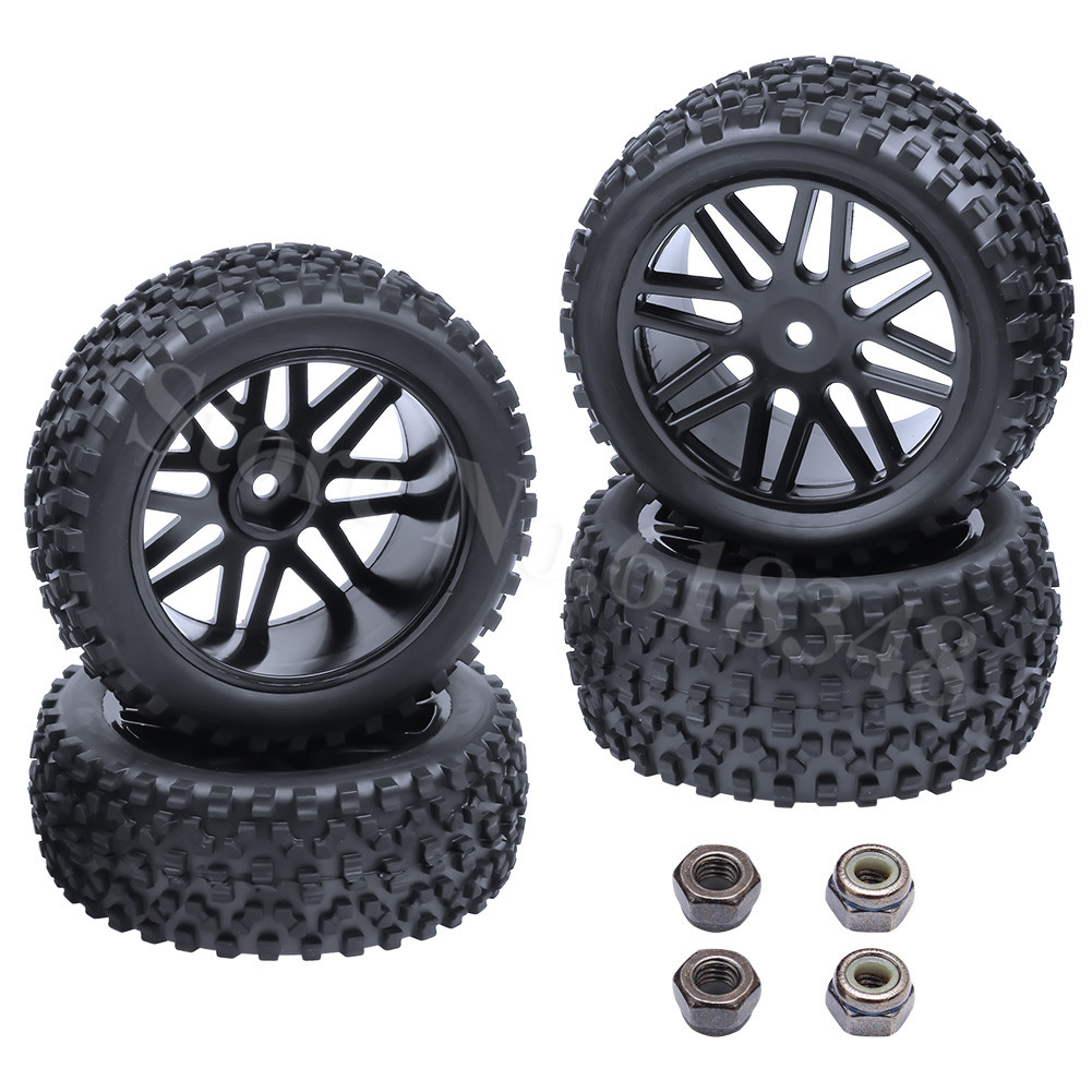 4 Pieces Front & Rear Buggy Tyres Wheels 12mm Hex For 1/10 RC Car Fit HSP STORMER 94105 Redcat Shockwave Nitro Buggy shockwave