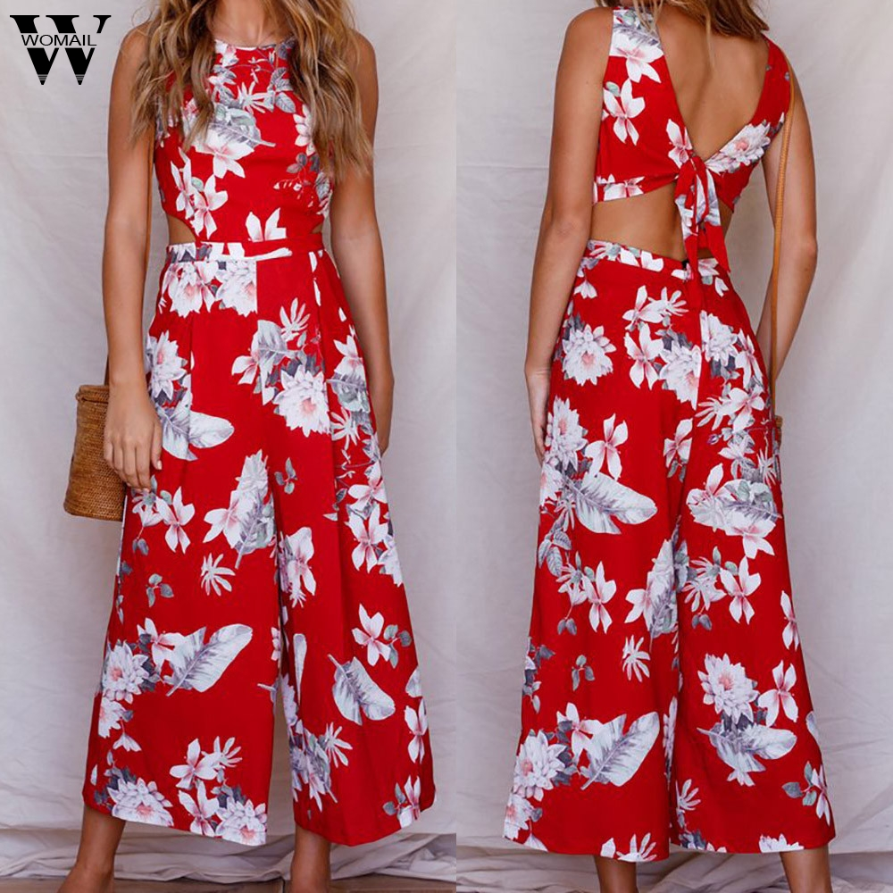 Womail bodysuit Women Summer Casual Sleeveless Floral Print   Jumpsuit   Clubwear Wide Leg   Jumpsuit   Plausuit Fashion2019 M1