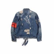 Темно-значок жест вышивка спереди молния уничтожены джинсовая куртка Для мужчин High Street Ripped Джинсовые куртки Для мужчин куртка