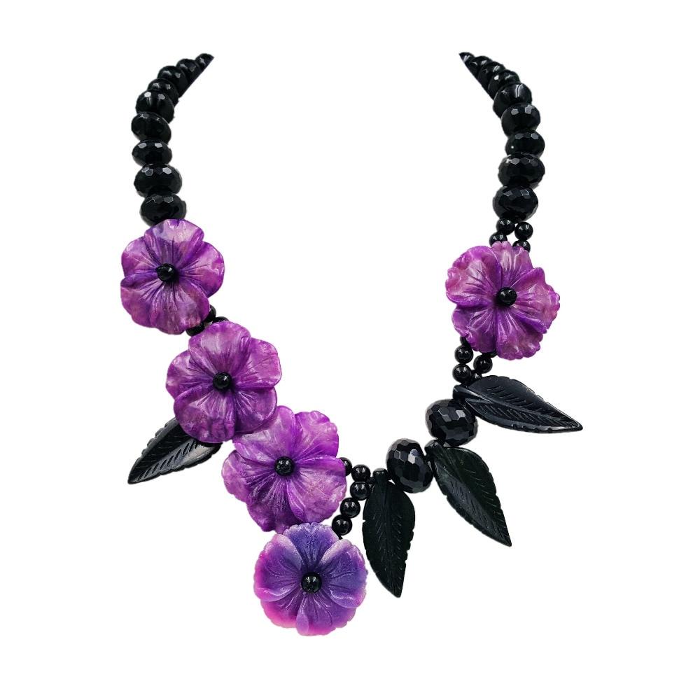 Lii Ji Natural Stone Black Agate,New Jade Leaf ,Dye Sugilite color Jade Flowers Handmade Necklace stylish natural black agate necklace 43cm