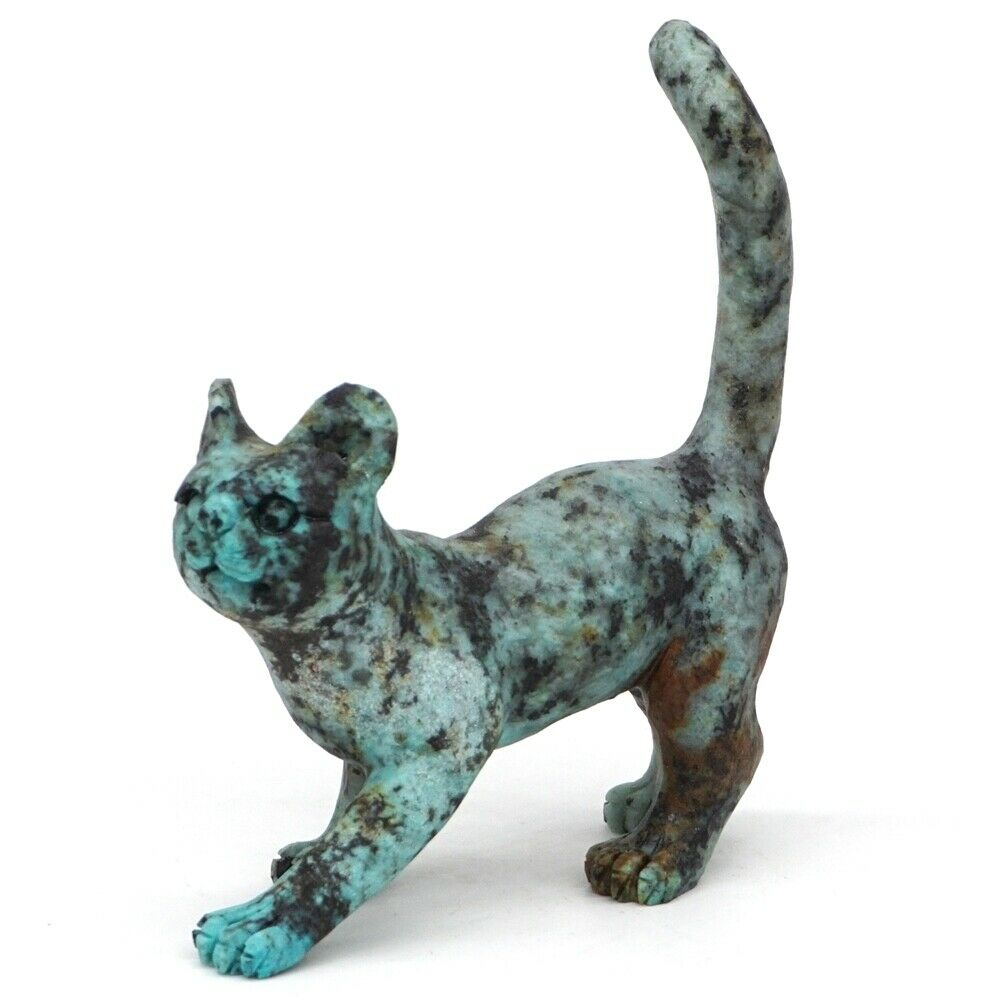 3.6 Cat Figurine Natural Gemstone African Turquoise Crystal Statue Home Decor3.6 Cat Figurine Natural Gemstone African Turquoise Crystal Statue Home Decor