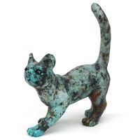3.6 Cat Figurine Natural Gemstone African Turquoise Crystal Statue Home Decor