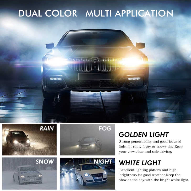 Xenplus H4 LED H7 H11 HB4 HB3 H9 9004 9006 Hi Lo Beam Car Headlight bulbs 8000LM 6500k 12V headlamp Golden White lamp for auto