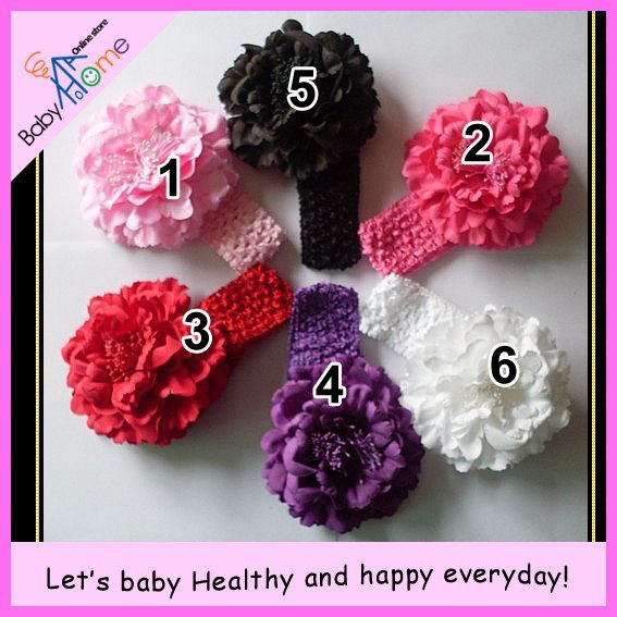Magnificent slmulation PEONY beautiful style hair accessories=big flower+stainless clip+crochet headband.