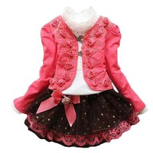 New Girls Teenager Spring Autumn Children Kids Flower Short Jacket Coat + Lace Blouse T Shirt + Dot Bow Tutu Skirt Clothing Sets children s garment autumn new pattern cool girls child collision rotator cuff lace motion wind pure 2 pieces kids clothing sets