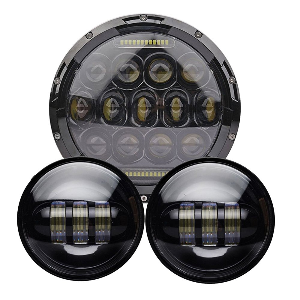 75W 7 LED Headlight+ 4.5 Fog Passing Light 30W For Harley Davidson Electra Glide Softail Street Glide Road King Motorcycle 7 inch led headlight motorbike suit 7headlight monting ring fog lights for harley davidson electra glide road king street glide