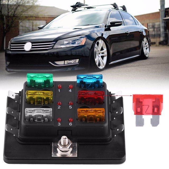 6 way circuit blade fuse box block holder with led warning light kit rh aliexpress com fuse box car lights
