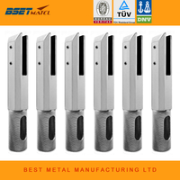 6 Pieces Duplex 2205 Stainless Steel Satin Polish Square Core Drill Glass Spigot For Frameless Glass