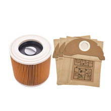 цена на Filter With Cap Dust Paper Bag For Karcher A2004 A2054 A2204 A2656 Wd2.250 Wet & Dry Vacuum Cleaners Parts