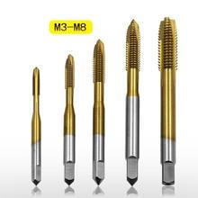 Высокое качество HSS 6542 прямой паз краны с титановым покрытием Прямые острые краны, M3/M4/M5/M6/M8 резьба винтовой наконечник открывалка