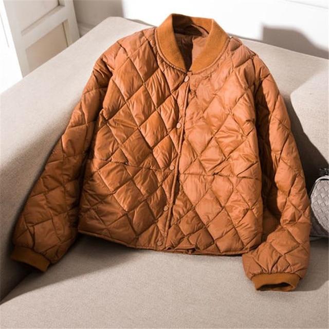 Women Baseball Down Jacket Autumn Winter Warm Duck Down Parkas Loose Short Coat Female Oversize Ultra Light Down Outwear RH1412