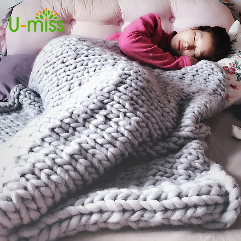 U miss Fashion Hand Chunky Wool Knitted Blanket Thick Yarn Merino Wool Bulky Knitting Throw Blankets