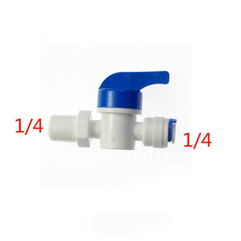 2 Pcs 1/4 Male-1/4 Tube Ball Valve Swicth RO Water