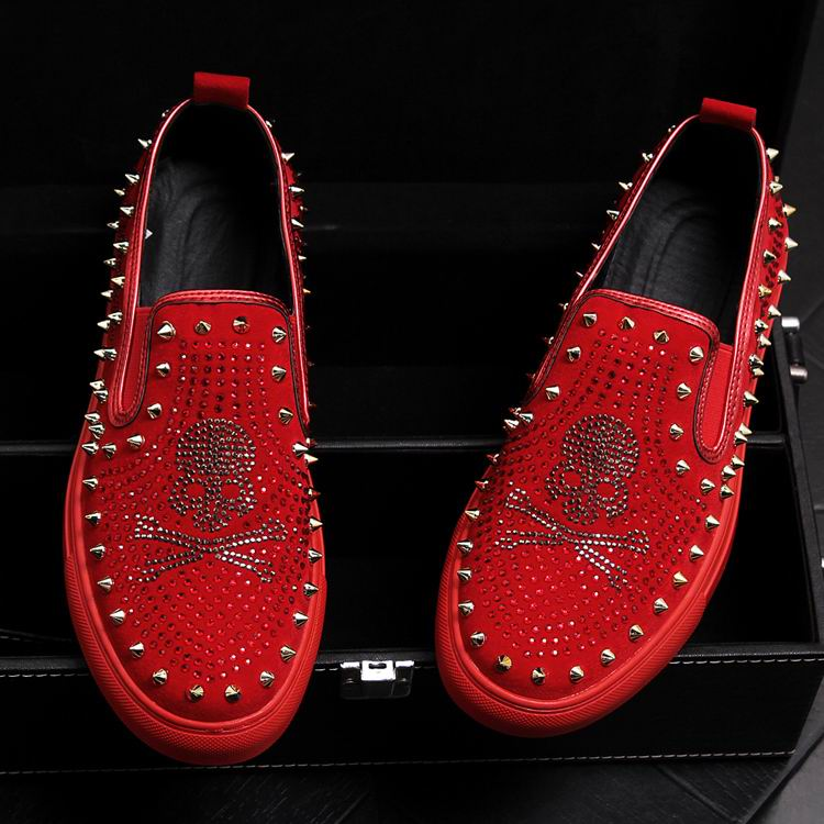 Rivets Charm Fashion Forward Men Casual Comfort Shoes Red Slip On Rhinestone Skull Charm Man Leisure Boast Shoes 38-43 10