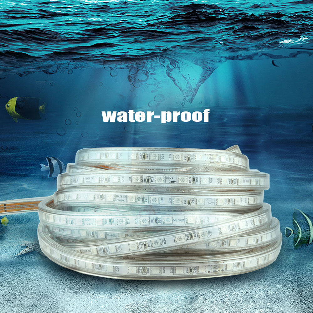 AC 220 V led strip licht SMD5050 60 leds / M IP67 Waterdichte Led flexibele Tape 1 M / 2 M / 3 M / 4 M / 5 M / 6 M / 7 M / 8 M / 9 M / 10 M / 15 M / 20 + Stekker