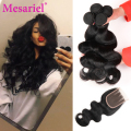 Brazilian Body Wave With Closure 4 Bundles Brazilian Virgin Hair Body Wave With Closure 7a Grade Unprocessed Human Hair Weave