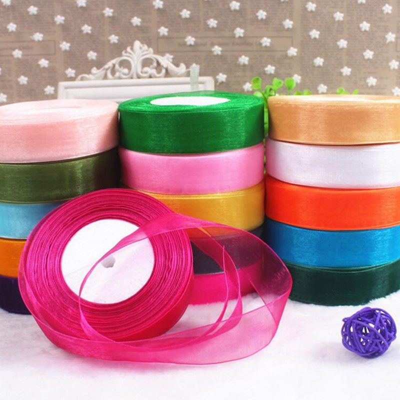 25mm <font><b>50</b></font> Yard/Rolls 45M Pretty Silk Organza Double Face Transparent Ribbon For Wedding Party Decoration Crafts Gift Packing Belt image