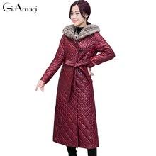 Winter Jacket Long Coat 2017 Imitation Sable Fur Collar Sheepskin Clothing Down Coat Hooded Long Chinese Jacket For Ladies