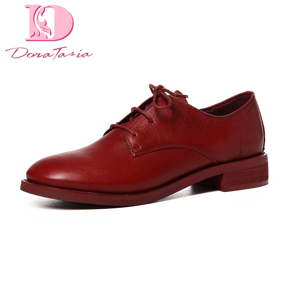 Doratasia 2018 Genuine Leather Fashion Cow Leather Women Shoes Woman Lace Up Breathable Flats oxfords Shoes Women flats tilly mint tales