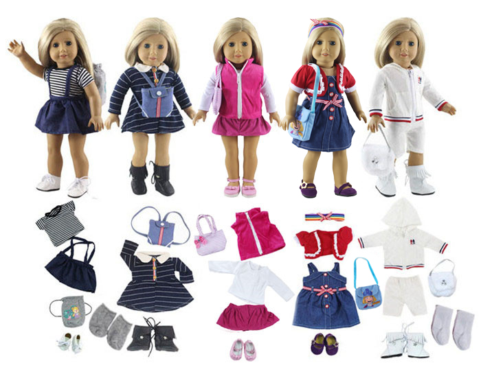 Lot 17 Item=5 Set Doll Clothes+5 Pair Shoes+5 Pieces Bag+2 Pair Socks for 18 Inch American Girl Doll Handmade Casual Wear Outfit цена