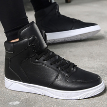Men's shoes solid brand sneakers for students high shoes comfortable wear-resistant men vulcanize shoes spring/autumn