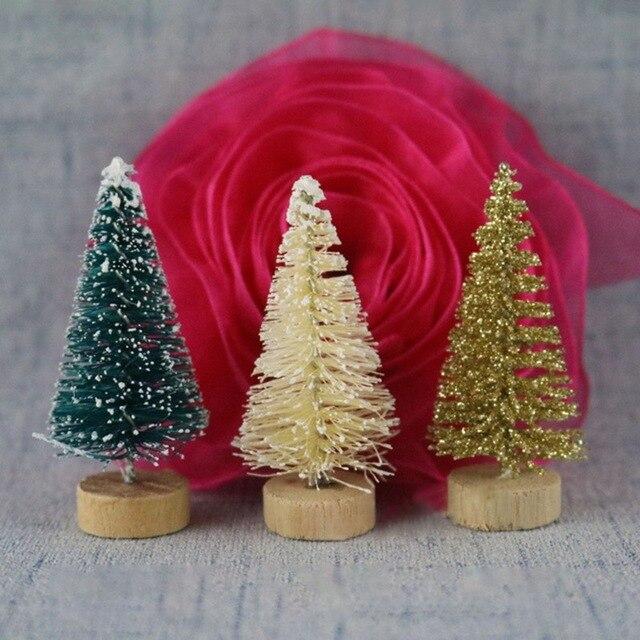 fiber mini christmas tree 3colors snow frost small pine tree diy craft desktop decoration christmas ornaments
