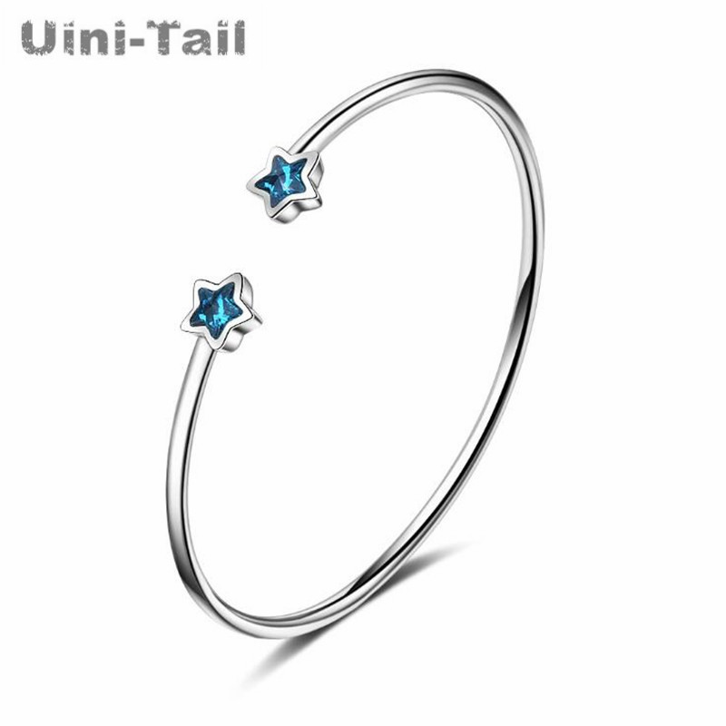 Uini-Tail hot new 925 sterling silver blue blue five-pointed star bracelet star open blue trend bracelet high quality GN547